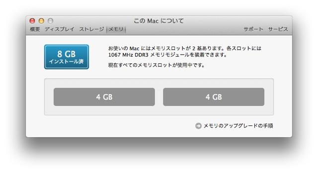 MacBook Pro メモリ8GBになった