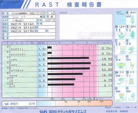 花粉アレルギー血液検査の結果