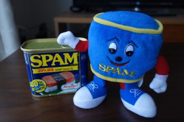 スパム缶詰のスパミーくん人形をゲット