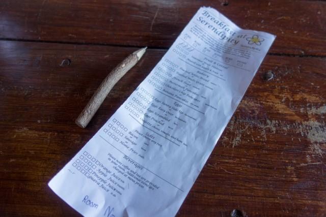 朝食のチェック票