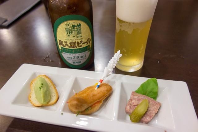 奥入瀬ビールと前菜