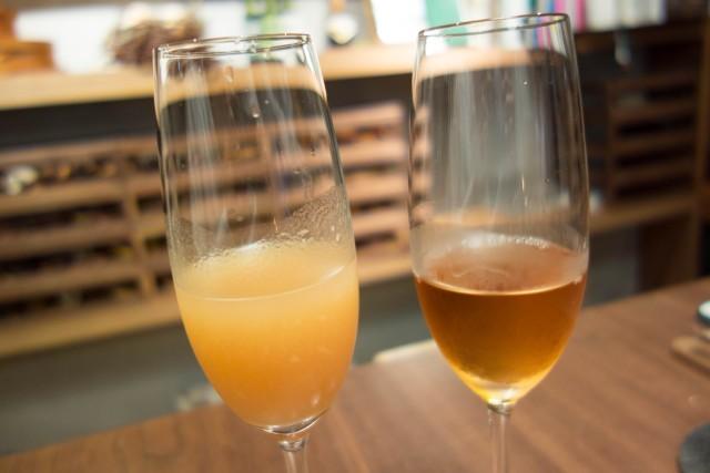 桃の日本酒とリンゴのアイスワイン