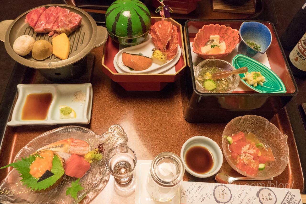 古窯の夕食(米沢牛ステーキ)
