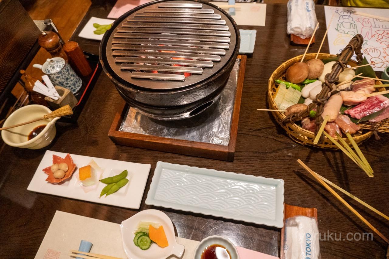 夕食の炭火焼