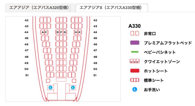 A330の後ろ側の2列席は狙い目
